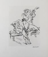 Oskar Kokoschka: Prügelszene: Dionysos und Xanthias werden wechselweise von Aiakos verprügelt