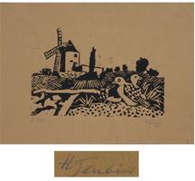 Hermann Teuber: Landschaft mit Windmühle