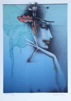Paul Wunderlich: Tete d´ une femme - blau