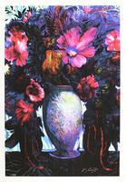 Ernst Fuchs: Großes blaues Blumenbouquet