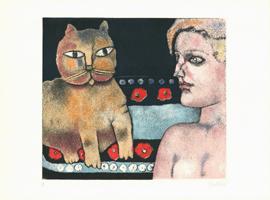 Franco Gentilini: Donna e gatto