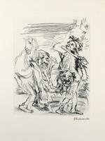 Oskar Kokoschka: Dionysos im Gewand des Herakles und Xanthias mit dem Esel auf dem Rücken