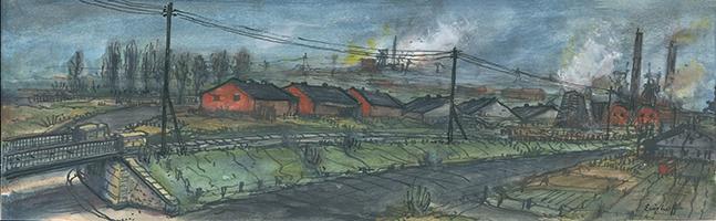 Friedrich Einhoff: Zeche mit Gleisen