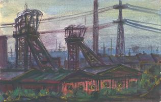 Friedrich Einhoff: Zeche mit Lagerhallen