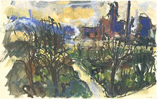 Friedrich Einhoff: Ruhrgebiet mit Industrie und Landschaft