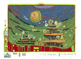 Friedensreich Hundertwasser: Die Häuser hängen unter den Wiesen