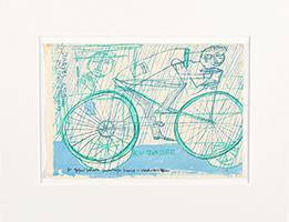 Friedensreich Hundertwasser: Radfahrer im Regen