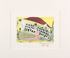 Friedensreich Hundertwasser: Mädchenfund im Gras - Erinnerung an Hannover - Das träumende Mädchen vor dem Haus der verhängten Fenster-Sonnenuntergangsdame