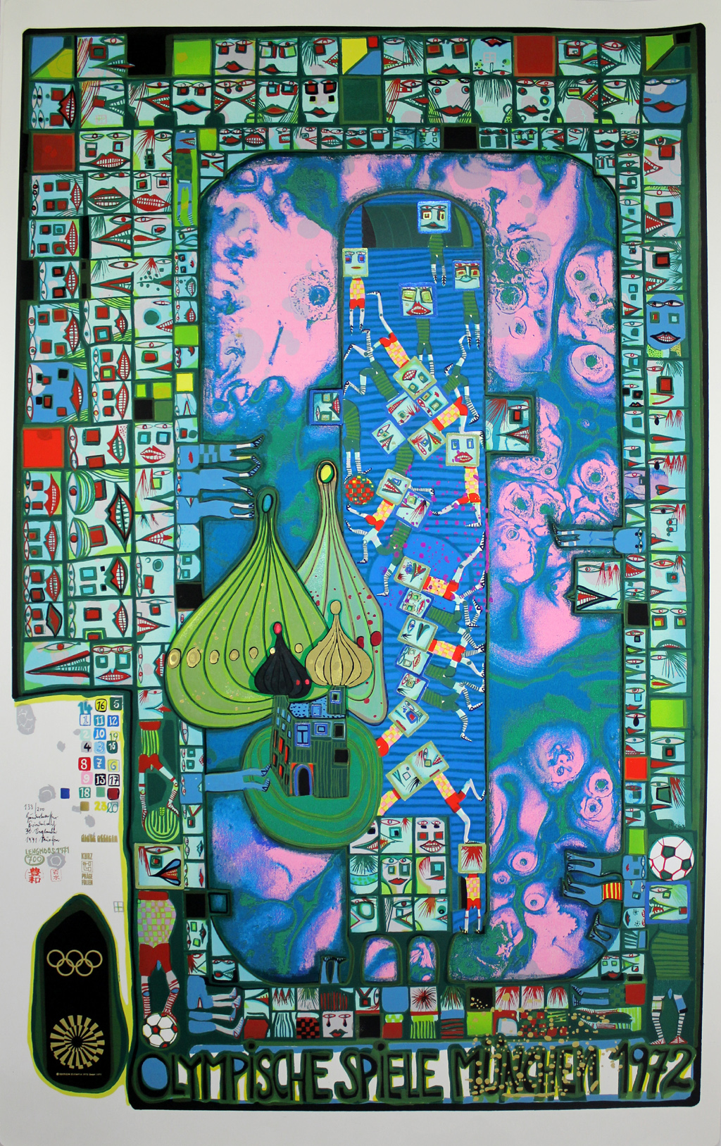 friedensreich hundertwasser olympische spiele m nchen 1972 handsigniert num ebay. Black Bedroom Furniture Sets. Home Design Ideas