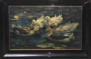 Unbekannter Künstler: Weiher mit Seerosen und Entenschar