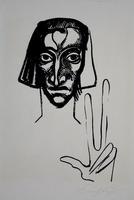 """Ernst Fuchs: Der Zeuge, aus der Mappe """"Kataklysmen"""""""