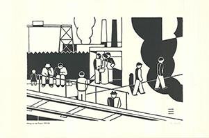 Gerd Arntz: Mittag vor der Fabrik