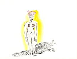 Elvira Bach: Frau mit Panflöte