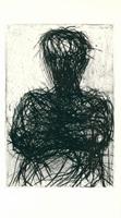 Max Uhlig: Männerkopf mit  verschränkten Armen