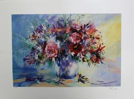 Roche: Bouquet de roses et chevrefeuille