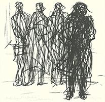 Max Uhlig: Vier Wartende (an einer Bahnstation)