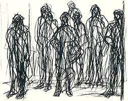 Max Uhlig: Straßenszene, 7 Wartende