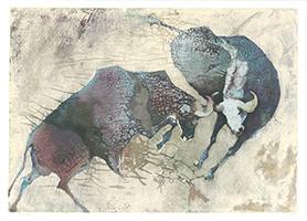 Edwin Salomon: Kämpfende Büffel