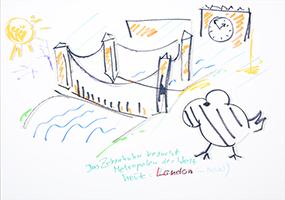 Helge Schneider: Das Zebrahuhn besucht ... - heute: London (im Nebel)