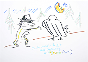 Helge Schneider: Das Zebrahuhn trifft Udo Lindenberg beim Joggen (Nachts!)