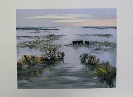 Zarou (eig. Gerard CARDELLA): Drei Wasserbüffel am See