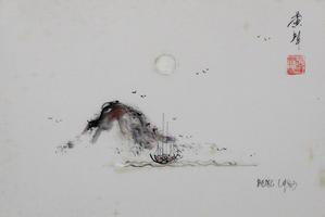 Unbekannter Künstler: Chinesische Landschaft mit Fischerboot