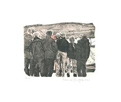 Johannes Grützke: Hafenkapitän, Dietmar Wolter, Grützke, Frau Trinks und Sohn in Longyearbyen auf Sptizbergen, um Hauke Trinks nach enem Jahr im Eis zu empfangen