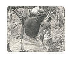 Johannes Grützke: Aus einem Baumstamm pflücke ein Freiheitsfreund eine Gewehrkugel