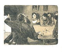 Johannes Grützke: Herr Schieber wirft den Unlustigen Münzen aus den Tisch und rift mit donnernder Stimme: Aber jetzt raus!