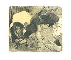 Johannes Grützke: Zwei Freiheitsfreunde entnehmen einem Hahn eine Schwanzfeder