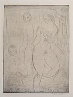 Wilhelm Lehmbruck: Drei weibliche Akte, zwei stehend, einer sitzend